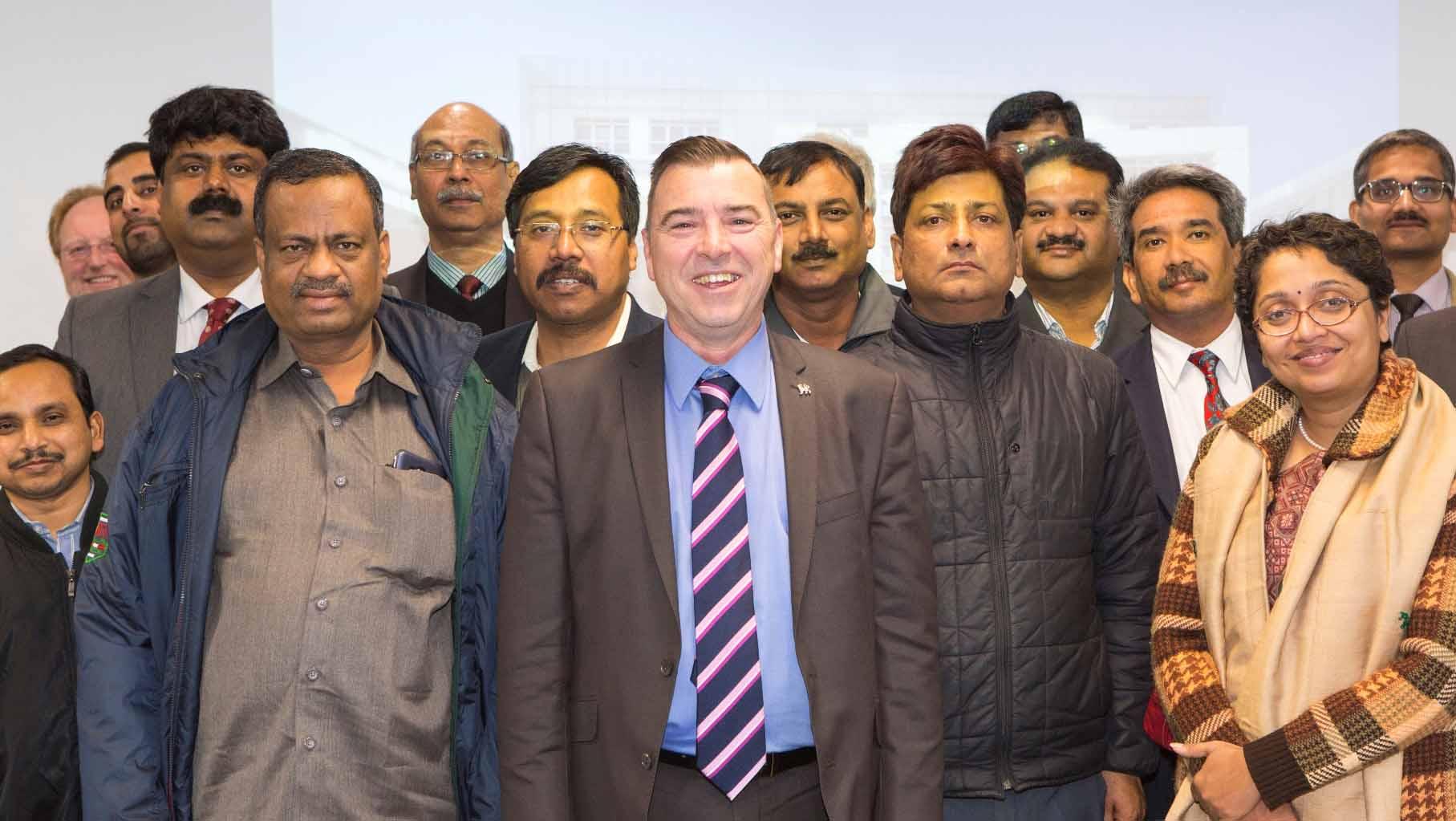 Indian Delegation at Birmingham City University (Centre - Professor Julian Beer)