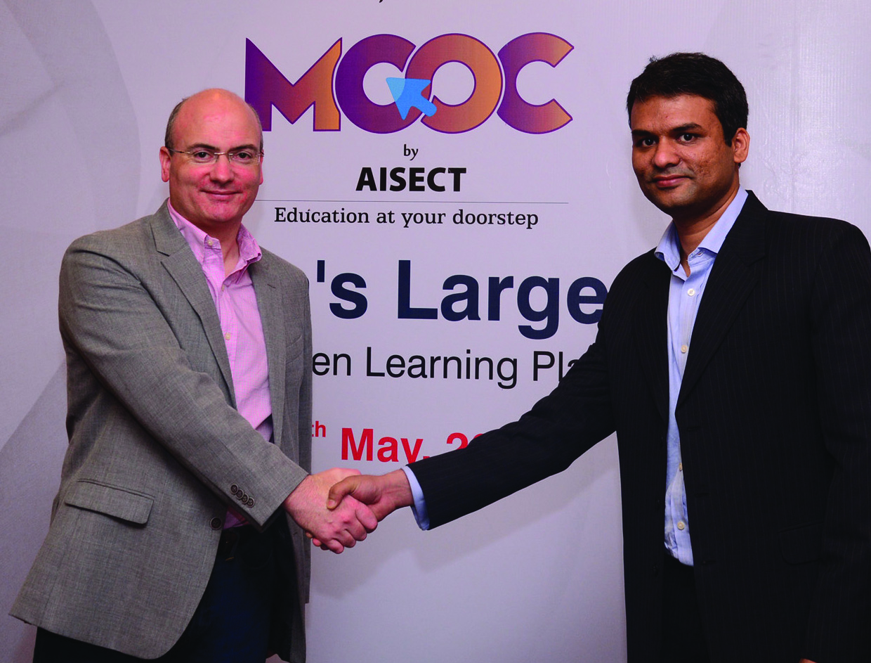 (L-R) Mr. Mike Feerick (Founder & CEO, ALISON) and Mr. Abhishek Pandit (Director-Business Services, AISECT) at the launch of the AISECT MOOC platform